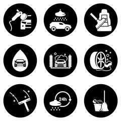 Set of white icons isolated against a black background, on a theme Car Wash
