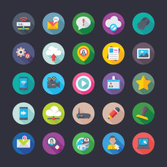 Coloured Flat Vector Icons Of Network And Communications
