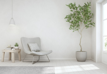 Wall Mural - Indoor plant and coffee table on wooden floor with empty white concrete wall background, Chair near door in bright living room of modern scandinavian house - Home interior 3d illustration