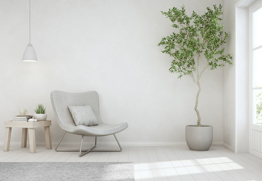 Indoor plant and coffee table on wooden floor with empty white concrete wall background, Chair near door in bright living room of modern scandinavian house - Home interior 3d illustration