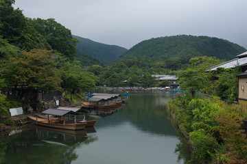 Katsura river in the Arashiyama district of Kyoto, Japan