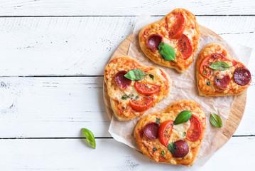 Heart shaped mini pizzas