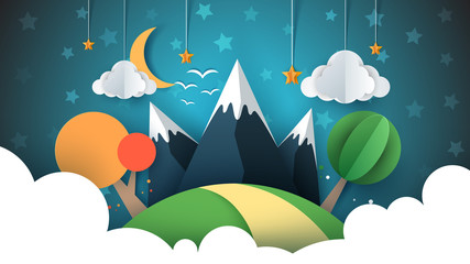 Paper travel illustration sun, cloud, hill, mountain, bird.
