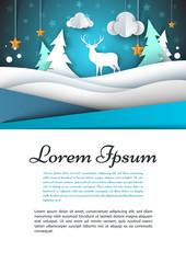 A4 template. Winter landscape illustration. Fir, deer, cloud, star.