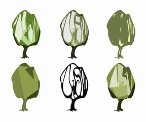 illustration of a trees , vector draw