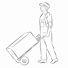 illustration of a worker with a cart , vector draw