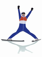 illustration of a ski jumper , vector draw