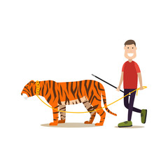 Wild animal tamer male with his tiger vector flat illustration