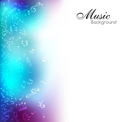 Music background with notes and color decorative element