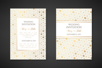 Gold hexagons. Wedding invitation templates.