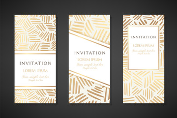 Gold ink lines. Invitation templates. Cover design with ornaments.