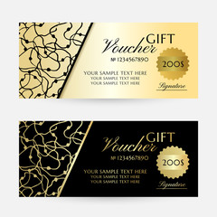 Gold scribbles. Gift vouchers template collection.