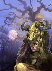 Fantasy illustration of a zodiac sign taurus as a handsome shaman with a drum and decorative horns on the background with dry trees