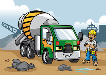 cement truck illustration on construction site