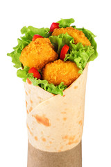 Tortilla wrap with chicken nuggets isolated on white background.