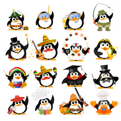 Set of cute little penguins on a white background. Young penguins of different professions with objects. Vector illustration