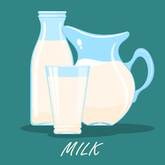 Cartoon image of a jug, a glass and a bottle of milk on a colored background. Food from the farm. Vector illustration