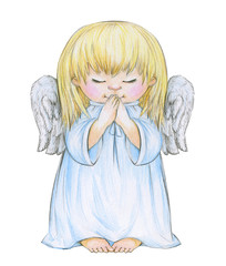 Little praying angel cartoon isolated, hand drawing.
