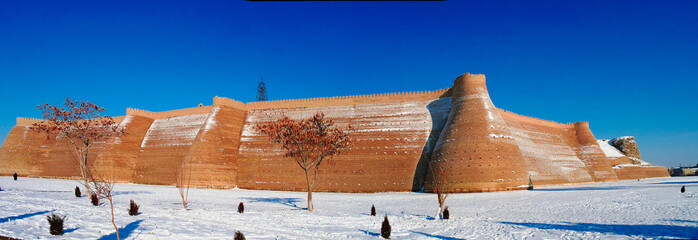 winter panoramic view to Ark fortress of Bukhara, Uzbekistan
