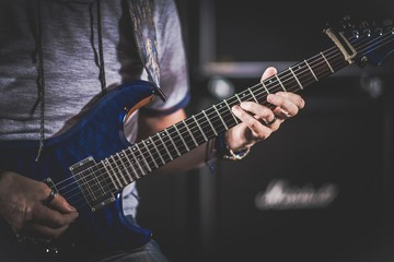 Caucasian Electric Guitarist