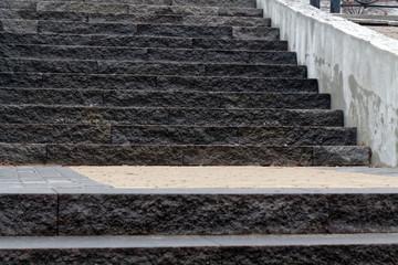 Monochrome brick grunge stone stairs and rock wall