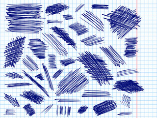 Scribbles doodle pencil signs set curve blue