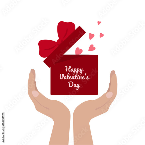 Happy Valentine S Day Hands Hold Gift Box With Heart And Ribbon Baw