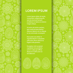 Flat poster or banner template with beautiful ornamental Easter eggs and flowers. Vector illustration.