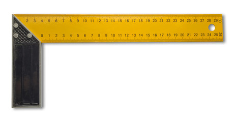 Measuring ruler tool 90 degrees, isolated on white background.