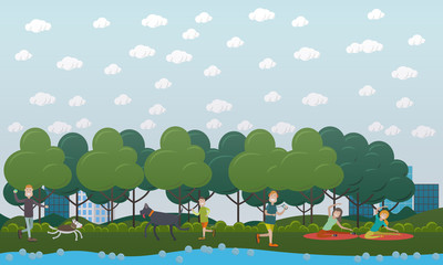 Walking with dog in the park vector flat illustration