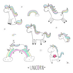 Hand drawn set with Cute unicorn print for kids. Vector illustration.