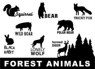Forest animals silhouette. Vector illustration.