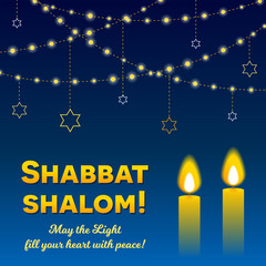 Shabbat shalom lettering, greeting card, vector illustration. Two burning shabbat candles and strings of lights on bokeh background. Jewish religious Sabbath congratulations in Hebrew.