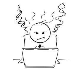 Conceptual Cartoon of Tired Angry Business Man Working on Computer