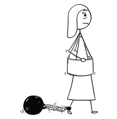 Conceptual Cartoon of Businesswoman with Chain and Iron Ball Attached to Leg