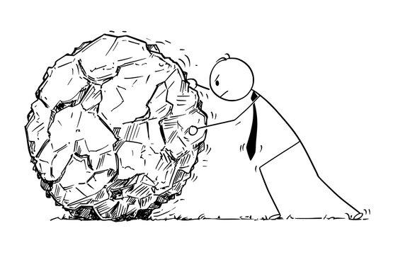 Conceptual Cartoon of Businessman Rolling Large Rock