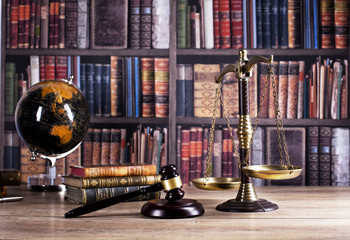 Law and justice symbols composition. Legal office