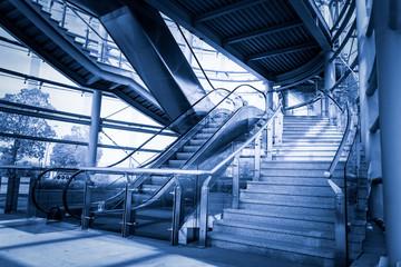 Staircase and escalator in underground passage