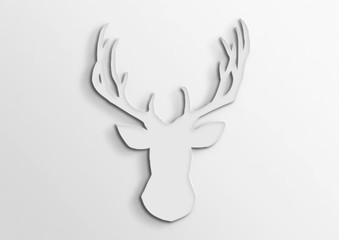 Deer. 3d. Silhouette, outline of paper.