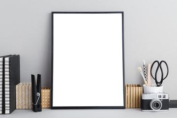 Poster frame on a office desk