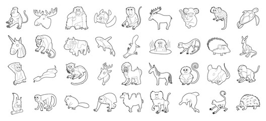 Animals icon set, outline style