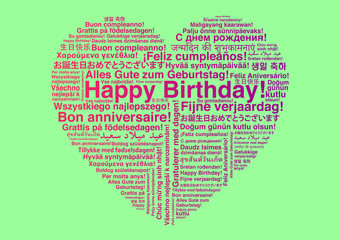 Happy Birthday in different languages wordcloud in heart shape greeting card
