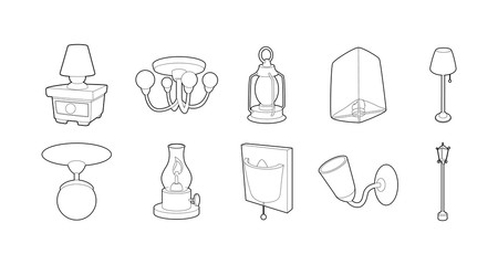 Lamp icon set, outline style