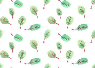 Seamless pattern with small round green leaves painted in watercolor on white isolated background