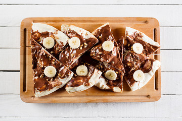 Dessert or breakfast pizza with nutella