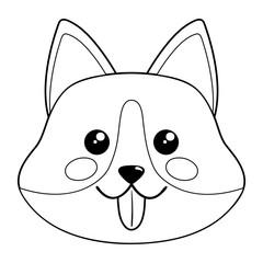 Cute dog face. Vector illustration