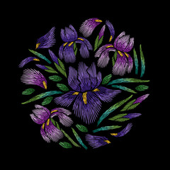 Embroidery circle floral pattern with iris