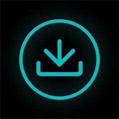 Neon Button rund - Download-Symbol