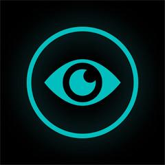 Neon Button rund - Auge