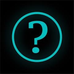 Neon Button rund - Fragezeichen